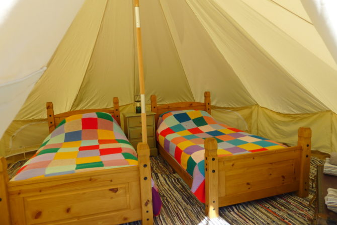 Cwt Gwyrdd Bell Tent interior with beds