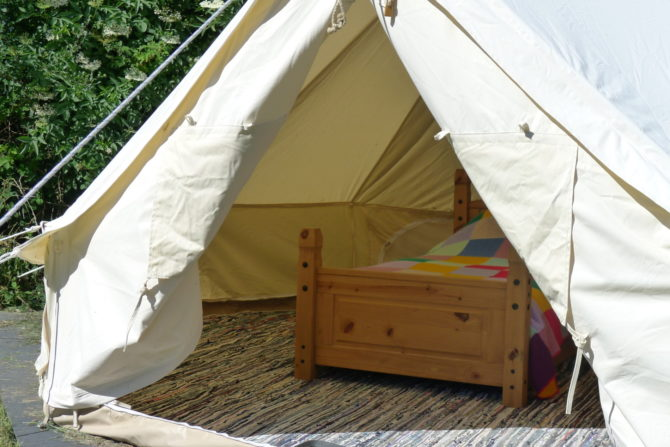 Cwt Gwyrdd Bell Tent open with bed showing